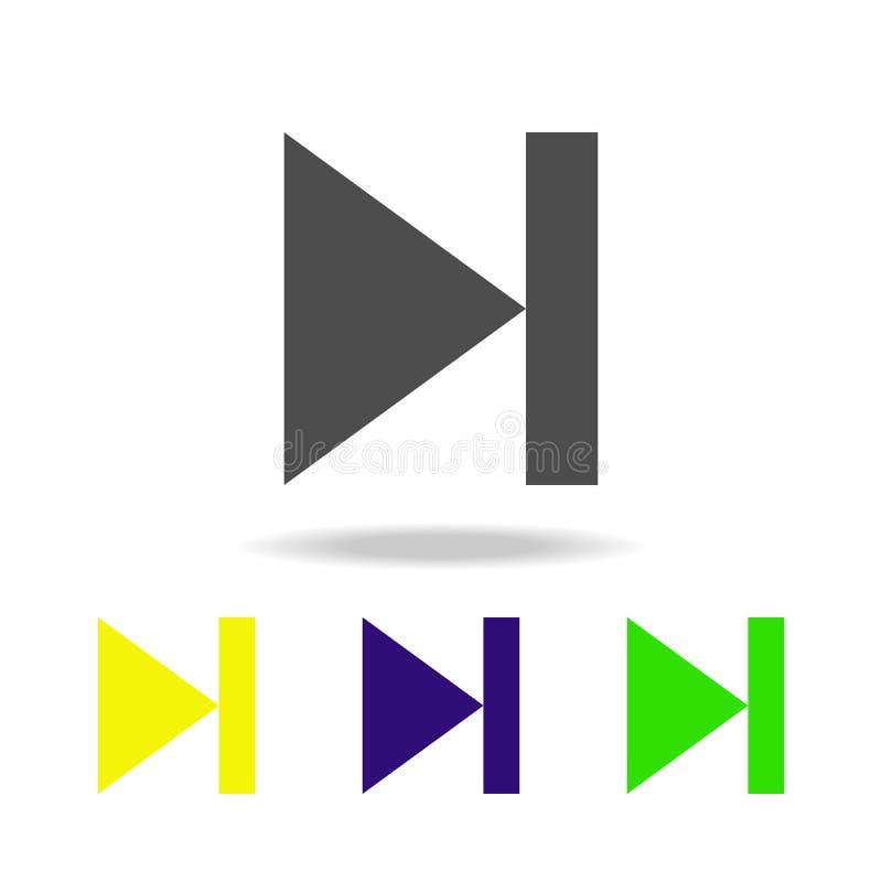 значок следующей музыки знака multicolor Элемент значков сети Знаки и значок для вебсайтов, веб-дизайн символов, мобильное прилож иллюстрация штока