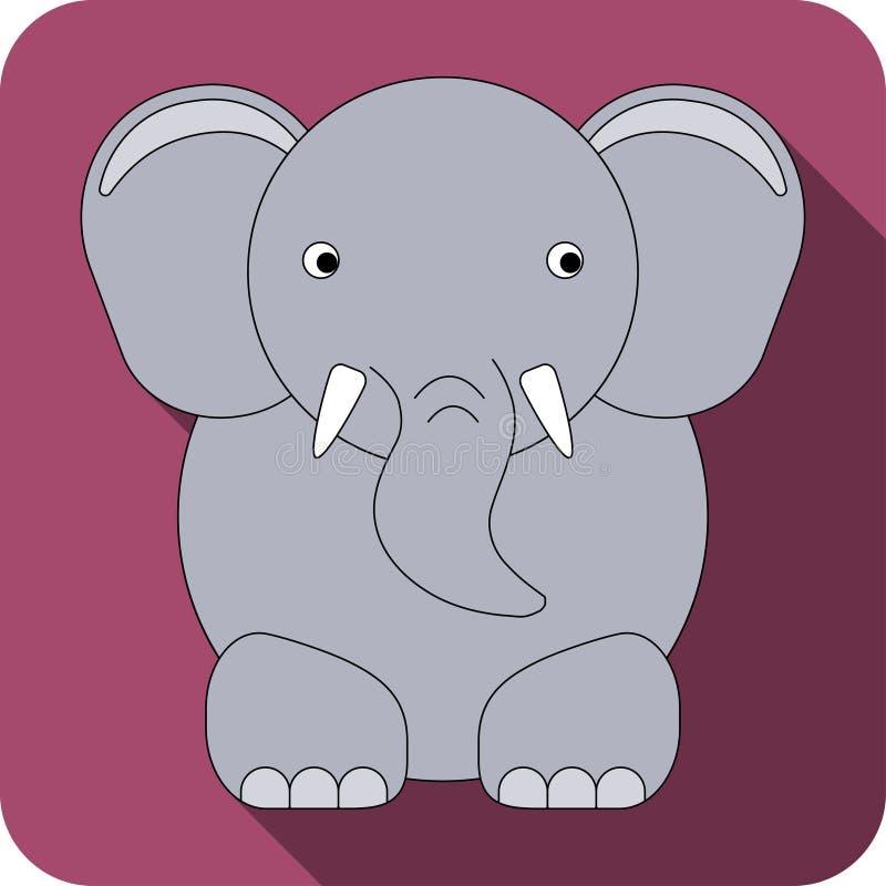 Значок слона вектора плоский стоковые изображения