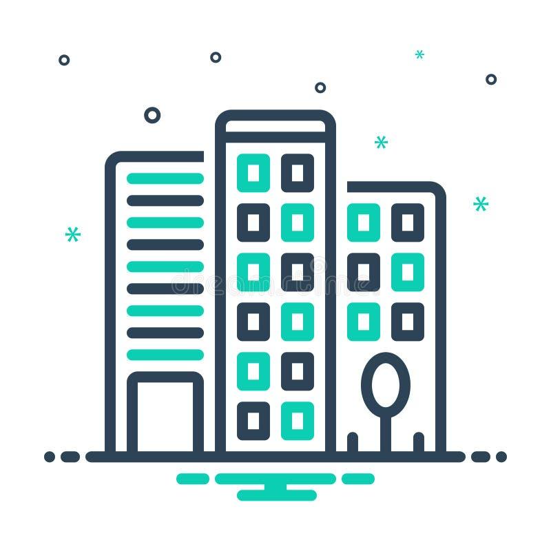значок смешивания для Office Building, Building и Office иллюстрация штока