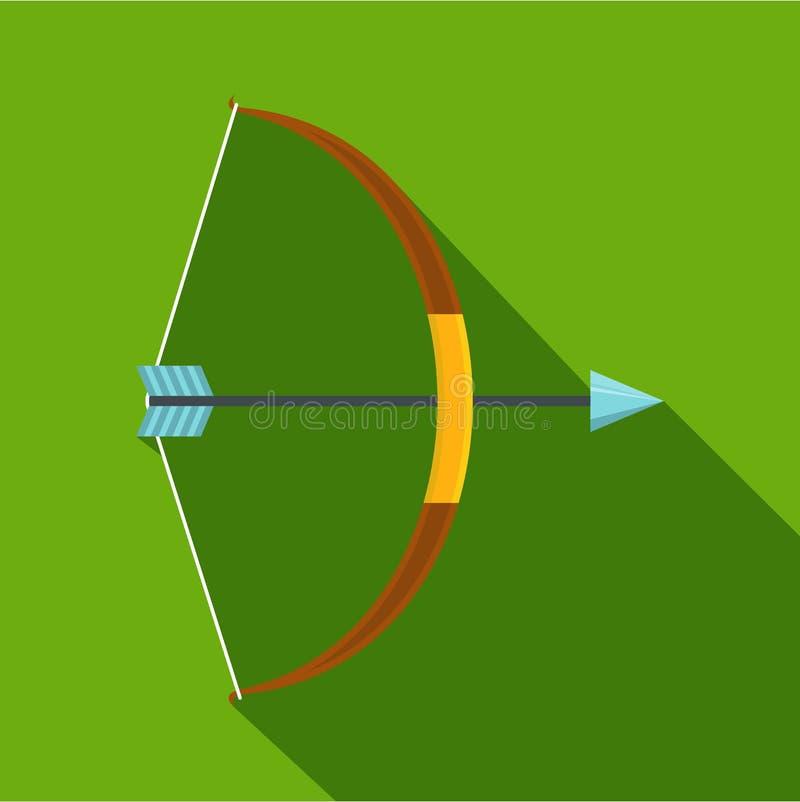 Значок смычка оружия, плоский стиль иллюстрация штока