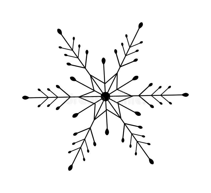 Значок снежинки изолированный на белизне Зимний отдых рождества декоративный элемент конструкции Черный знак хлопь снега силуэта  иллюстрация вектора