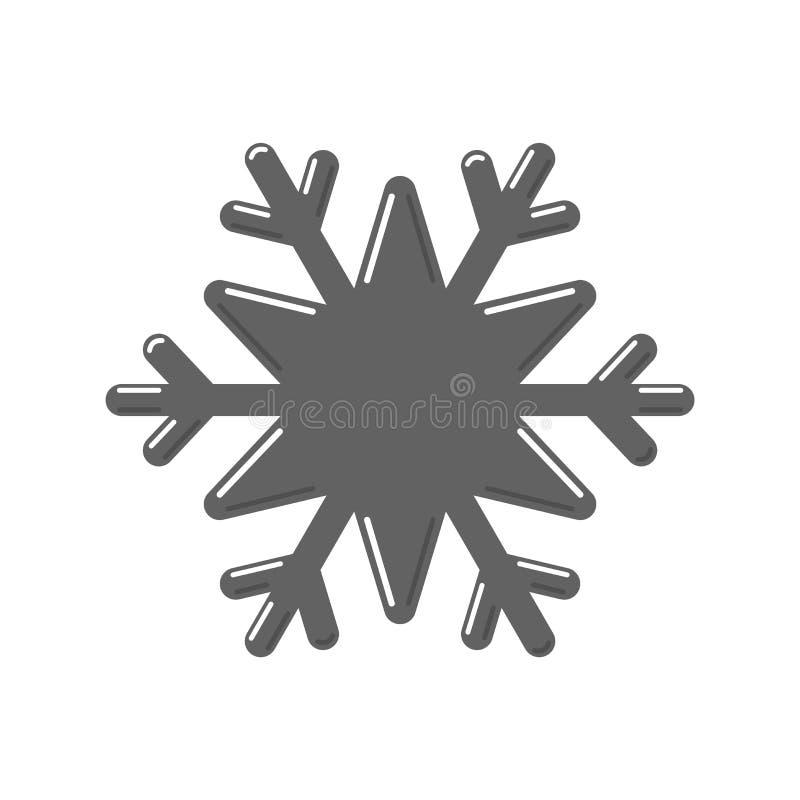 Значок снежинки серый Знак хлопь снега мультфильма изолированный на белой предпосылке Символ праздника рождества, зимы иллюстрация штока