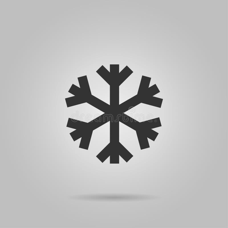 Значок снежинки Черный знак хлопь снега силуэта, изолированный на серой предпосылке Плоский дизайн Замерли символ зимы, который,  иллюстрация штока