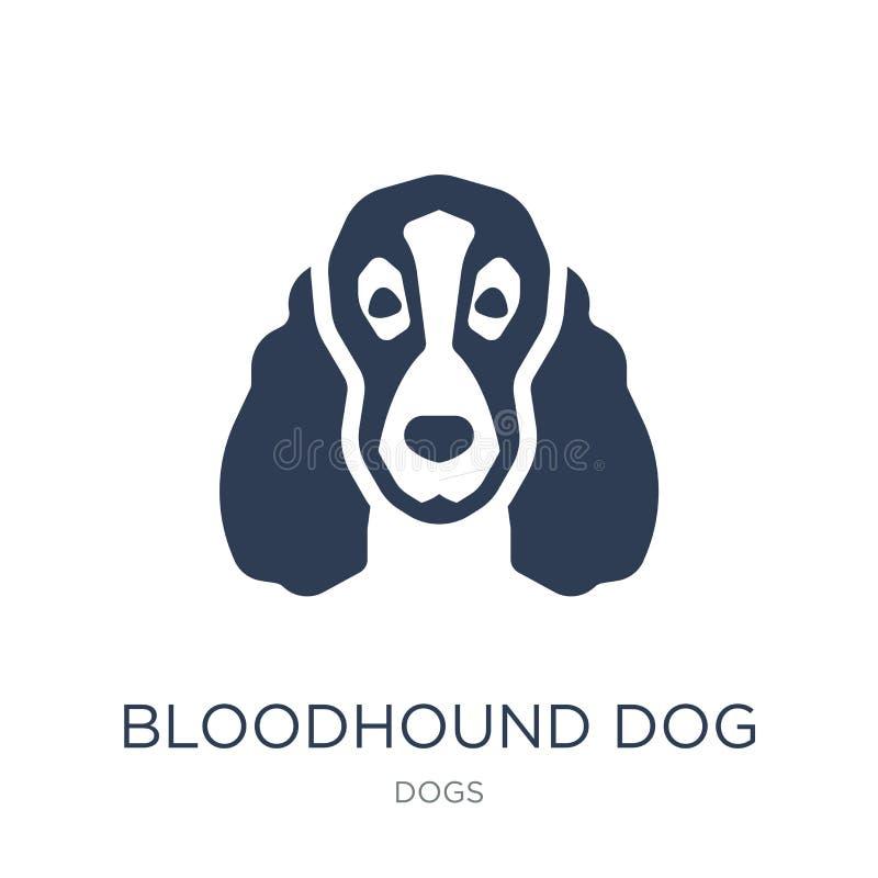 Значок собаки Bloodhound Ультрамодный плоский значок собаки Bloodhound вектора на w бесплатная иллюстрация