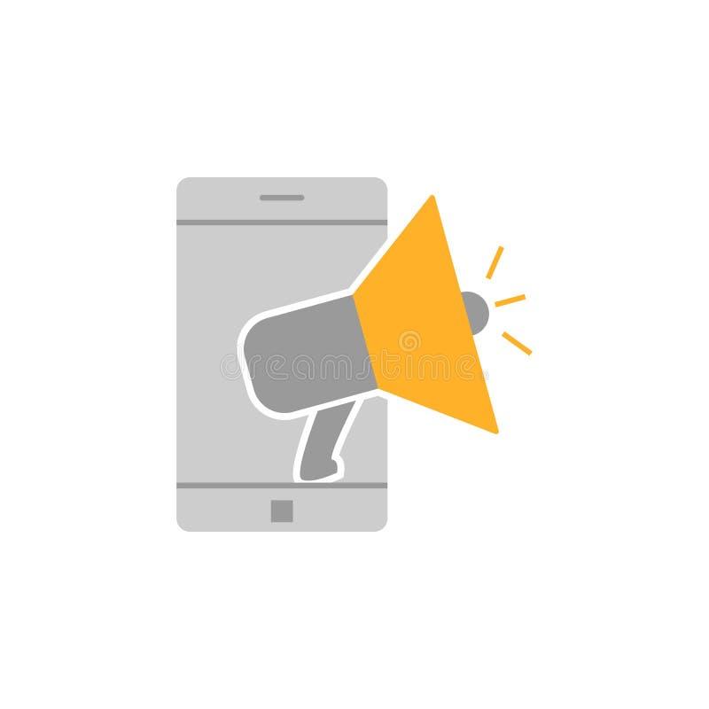 Значок содержания мегафона Элемент выходя на рынок значка для мобильных приложений концепции и сети Детализированный значок содер иллюстрация вектора