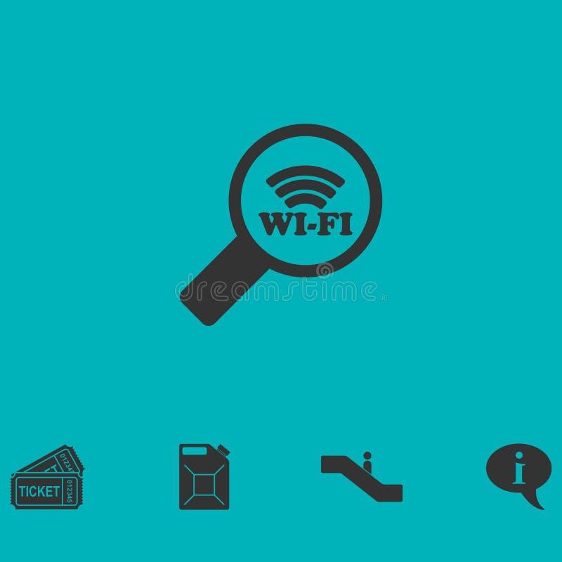 Значок соединения Wi-Fi поиска плоско иллюстрация вектора