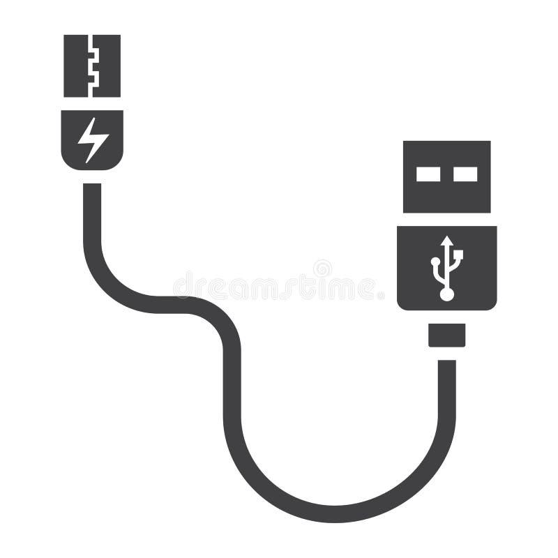 Значок, соединитель и заряжатель кабеля USB твердые иллюстрация штока