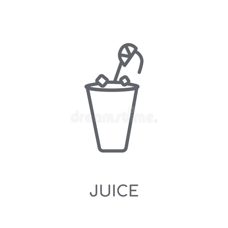 Значок сока линейный Современная концепция логотипа сока плана на белом ба иллюстрация штока