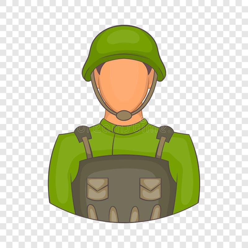 Значок солдата в стиле шаржа иллюстрация вектора