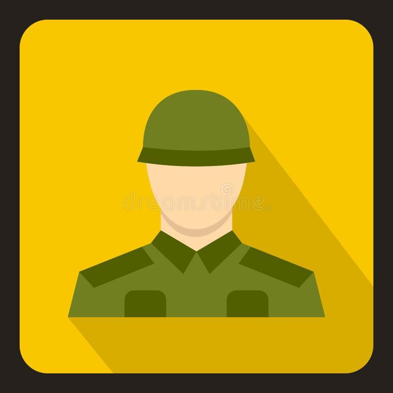 Значок солдата, плоский стиль иллюстрация вектора