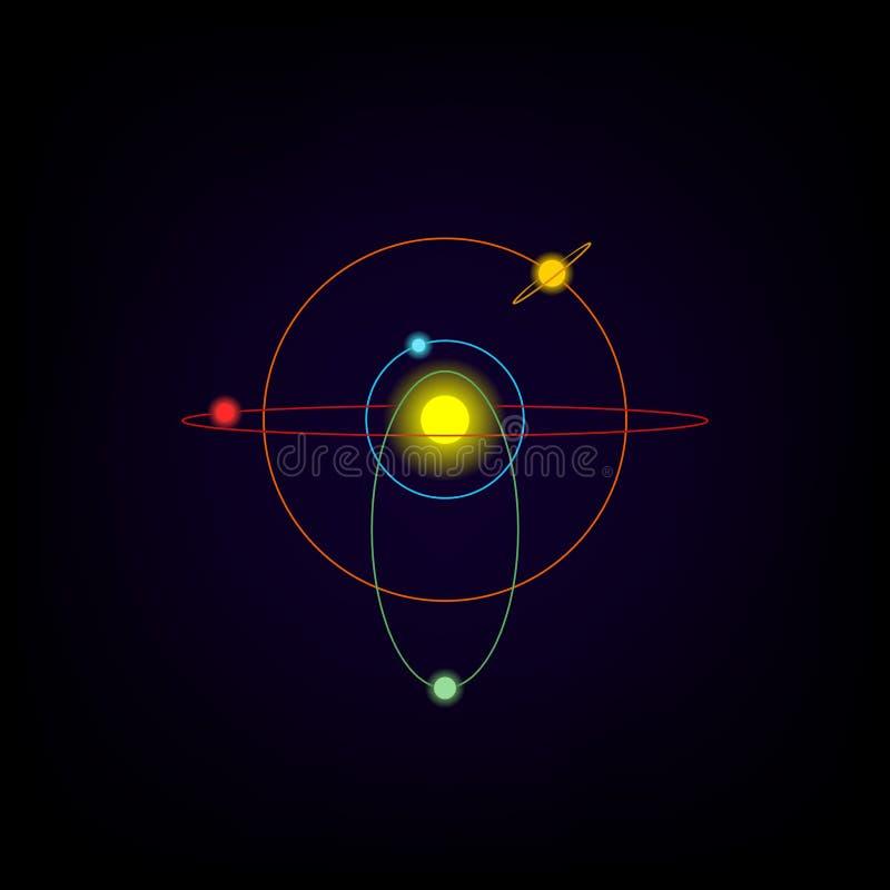 Значок солнечной системы планетарная модель бесплатная иллюстрация
