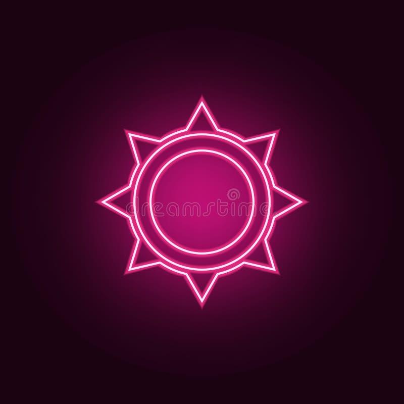 значок солнца Элементы сети в неоновых значках стиля r иллюстрация вектора