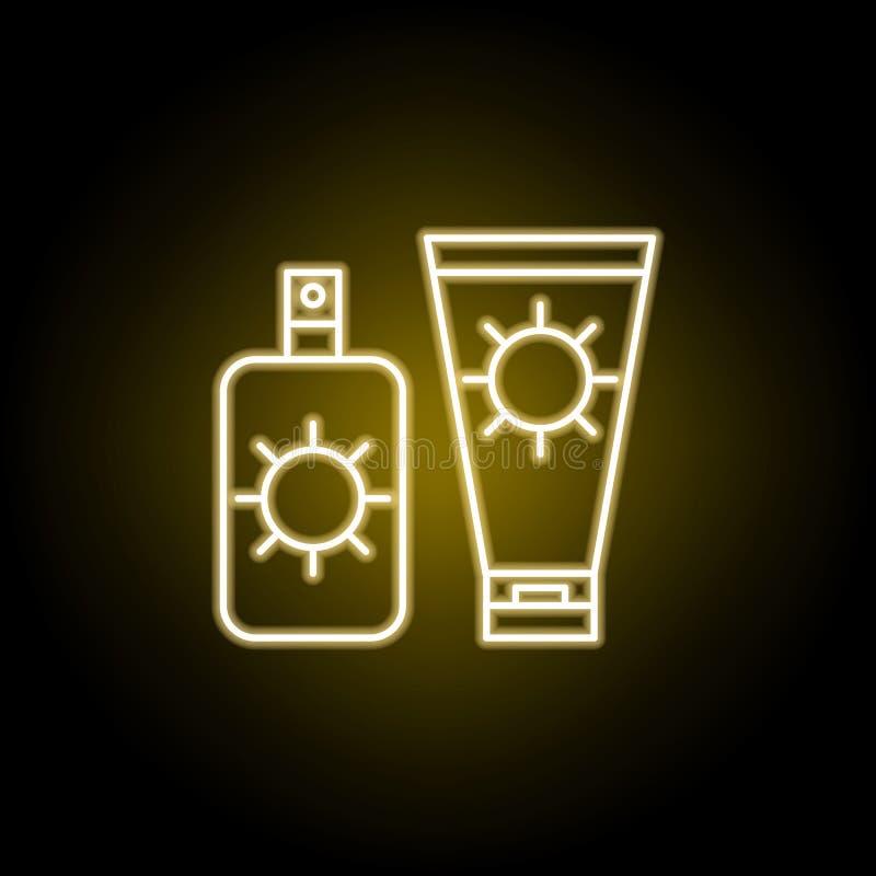 значок солнцезащитного крема в неоновом стиле Элемент иллюстрации перемещения r иллюстрация штока