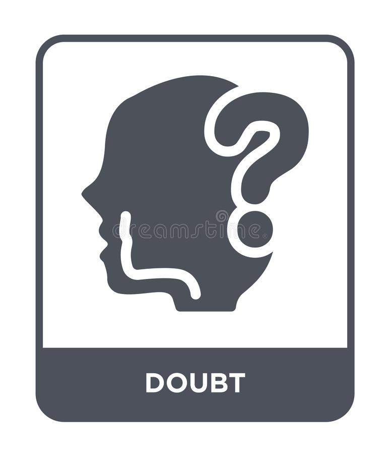 значок сомнения в ультрамодном стиле дизайна значок сомнения изолированный на белой предпосылке символ значка вектора сомнения пр иллюстрация вектора