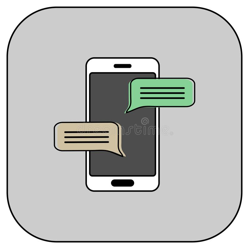 Значок сообщения болтовни мобильного телефона иллюстрация штока