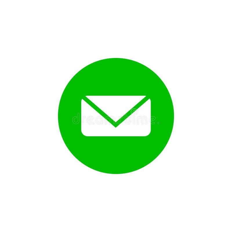 Значок сообщения, электронная почта, знак письма, белый на бело-зеленой предпосылке Иллюстрация вектора плоская иллюстрация вектора