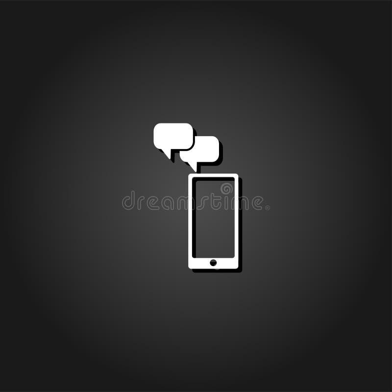 Значок сообщения Smartphone плоский иллюстрация штока