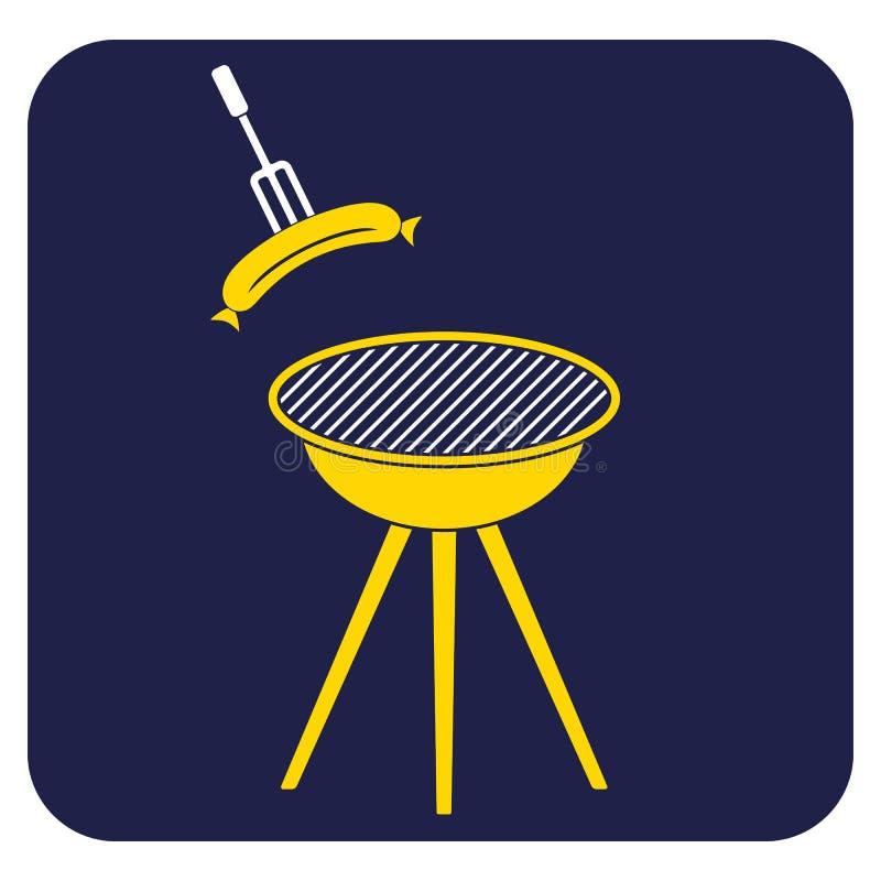 Значок сосиски барбекю иллюстрация штока