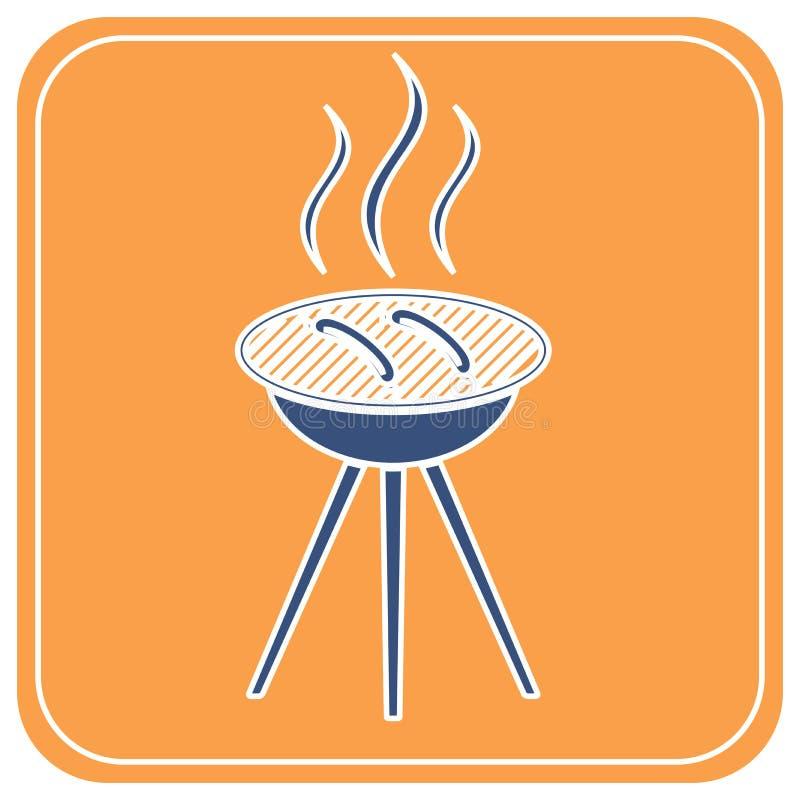 Значок сосиски барбекю бесплатная иллюстрация