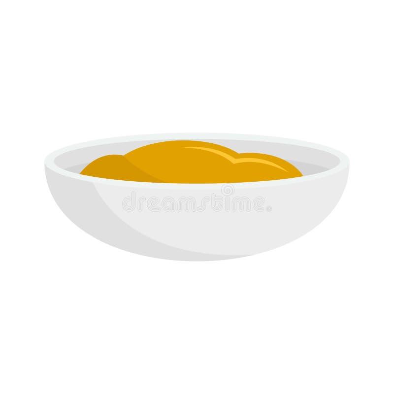 Значок соуса мустарда, плоский стиль бесплатная иллюстрация