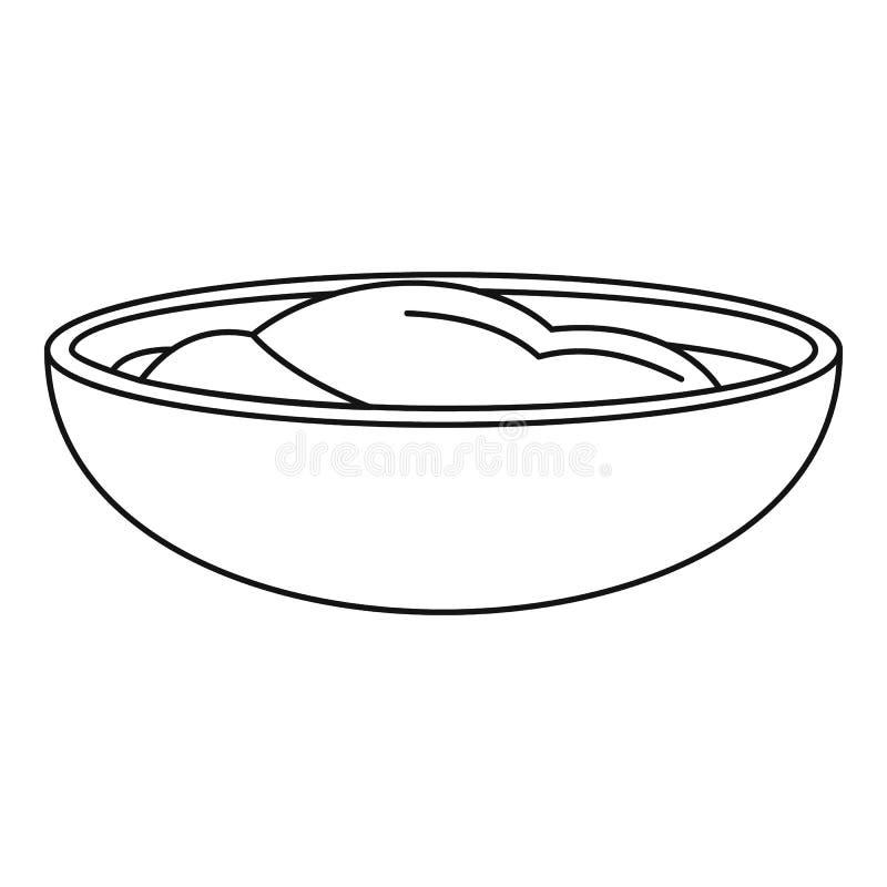 Значок соуса мустарда, стиль плана иллюстрация вектора