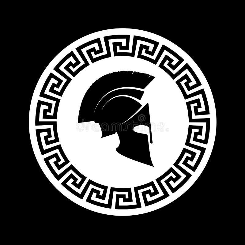 Значок спартанский шлем иллюстрация вектора