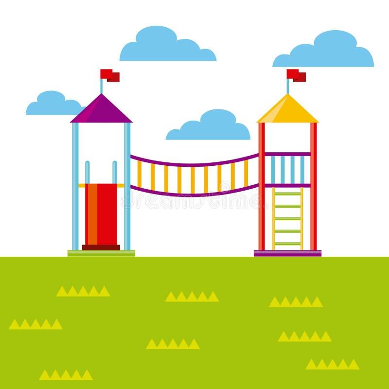 Значок спортивной площадки красивых детей иллюстрация штока