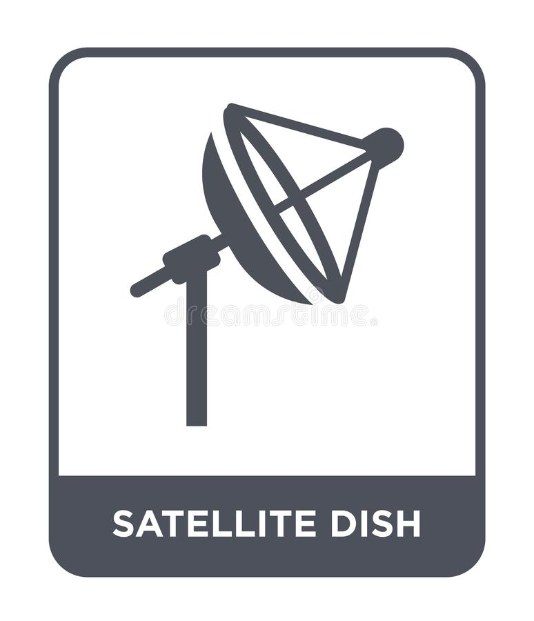 значок спутниковой антенна-тарелки в ультрамодном стиле дизайна Значок спутниковой антенна-тарелки изолированный на белой предпос бесплатная иллюстрация