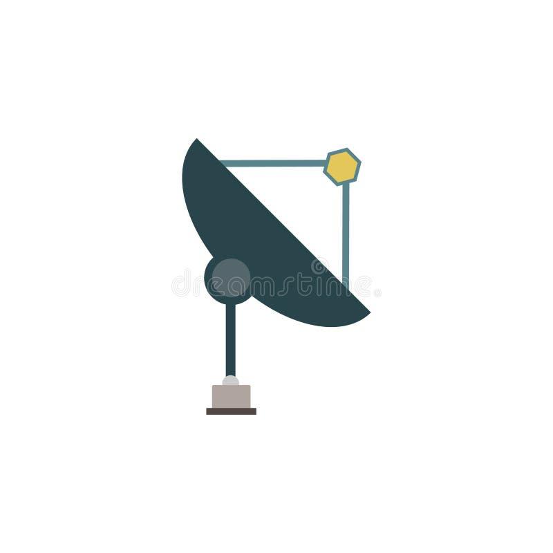 Значок спутниковой антенна-тарелки покрашенный Элемент иллюстрации космоса Знаки и значок символов можно использовать для сети, л иллюстрация штока
