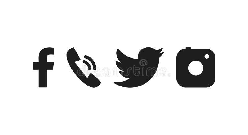 Значок средств массовой информации Установленные социальные значки Значок в плоском стиле r иллюстрация штока