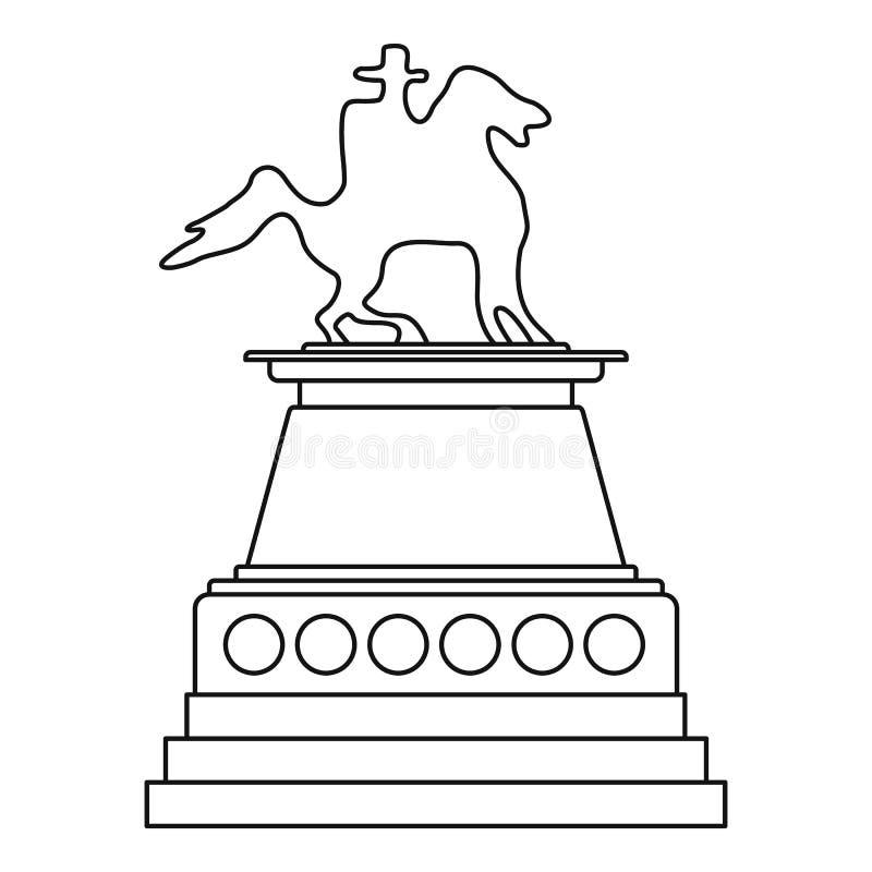 Значок статуи лошади, стиль плана иллюстрация штока