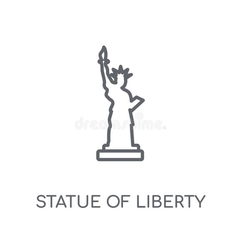 Значок статуи свободы линейный Современная статуя свободы плана иллюстрация штока