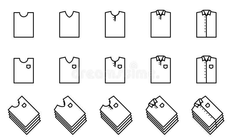Значок створки футболки и рубашки установил для шкафа бесплатная иллюстрация