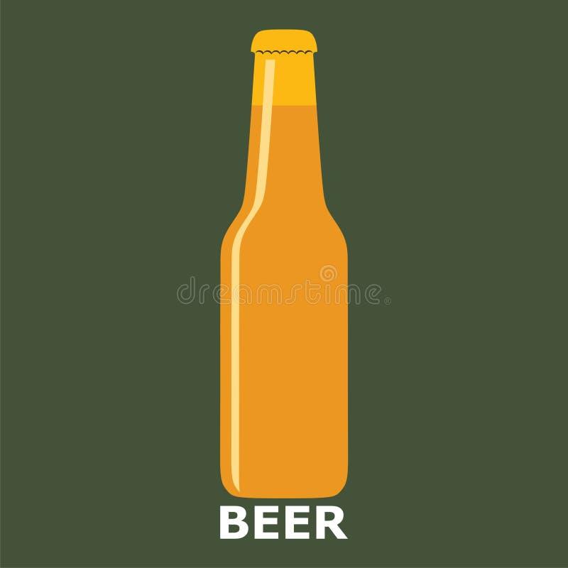 Значок стекла пивной бутылки изолированный на зеленой предпосылке бесплатная иллюстрация