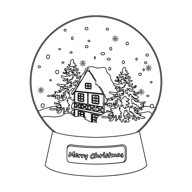 Значок стеклянного шарика снега одиночный в стиле плана для дизайна Сеть иллюстрации запаса символа вектора рождества иллюстрация штока