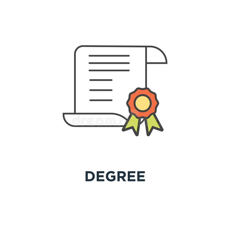 Значок степени сертификат, качество, диплом, награда или достижение с печатью, планом на белом, дизайном символа концепции, контр иллюстрация вектора