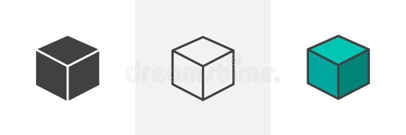 значок стиля куба 3D различный иллюстрация штока
