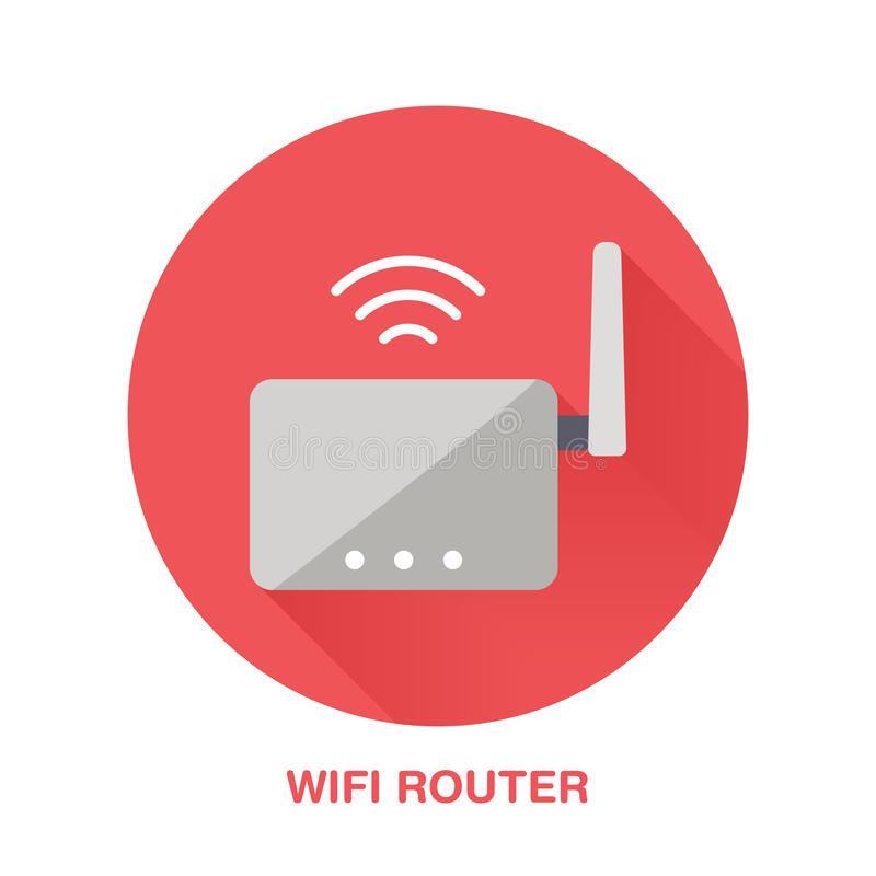 Значок стиля маршрутизатора Wifi плоский Беспроводная технология, знак конторских машин Иллюстрация вектора коммуникационных устр иллюстрация вектора