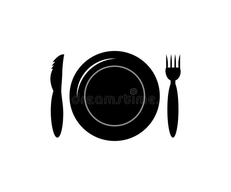 Значок столового прибора Вилка плиты и силуэт вектора ножа изолировано черный цвет иллюстрация штока
