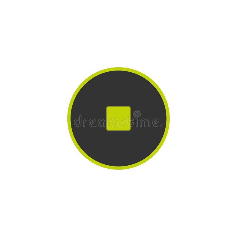 Значок стопа в черном круге с зеленым планом Значок фильма или средств массовой информации плоско кнопка бесплатная иллюстрация