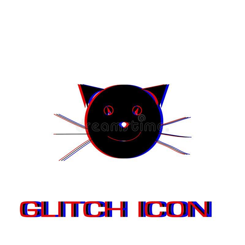 Значок стороны кота плоско иллюстрация вектора