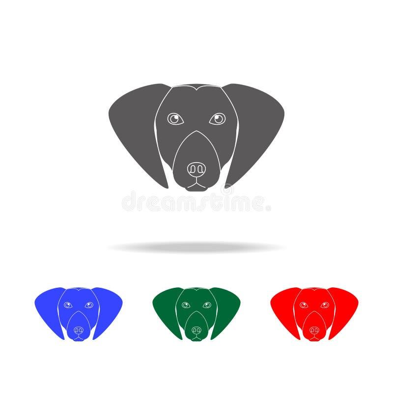 Значок стороны retriever Лабрадора Элементы значков собак multi покрашенных Наградной качественный значок графического дизайна Пр иллюстрация штока