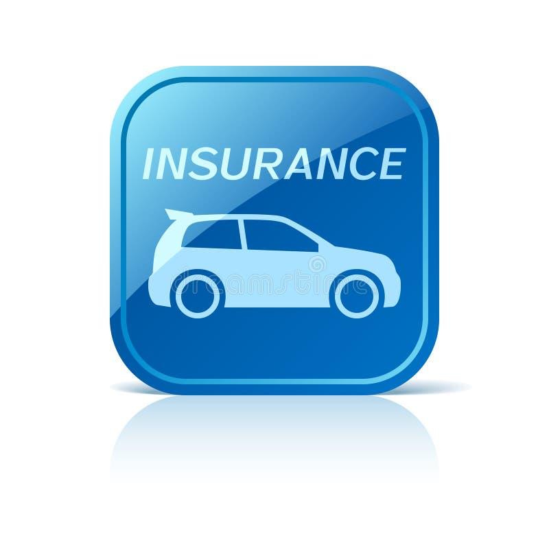 Значок страхования автомобилей на голубой кнопке сети бесплатная иллюстрация