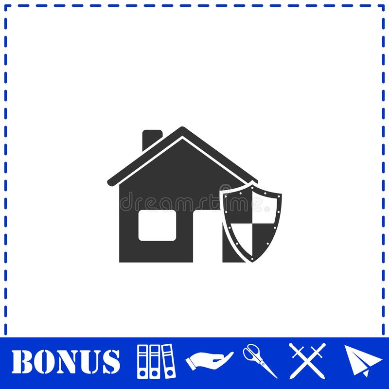 Значок страхования дома плоско иллюстрация штока