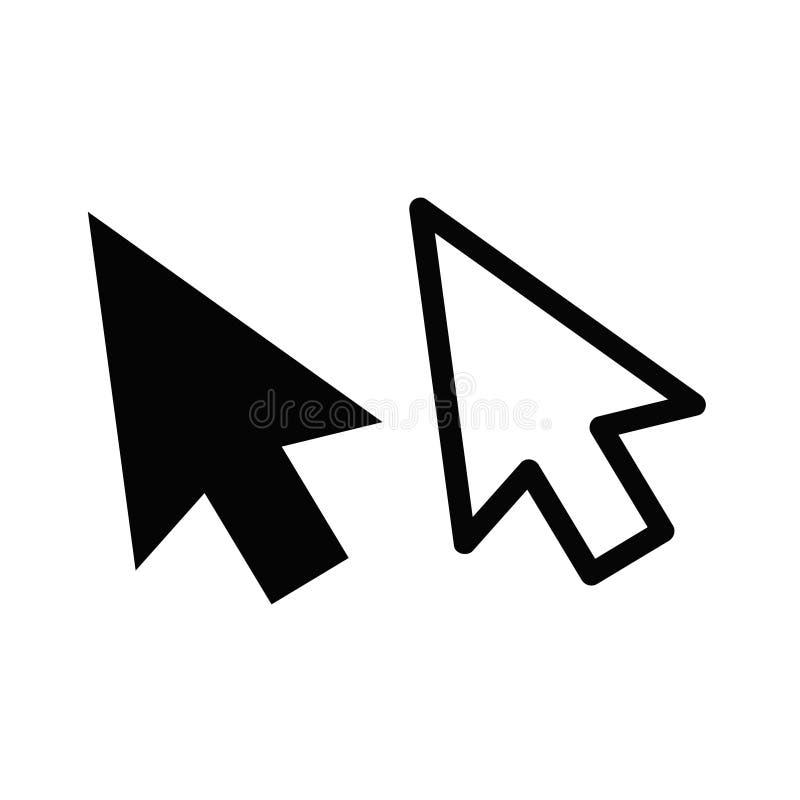Значок стрелки курсора указателя щелчка мыши компьютера плоский для apps и иллюстрация штока