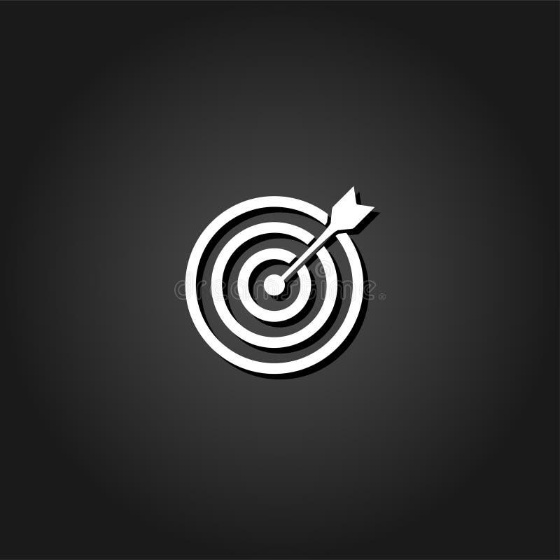Значок стрелки яблочка цели плоско бесплатная иллюстрация