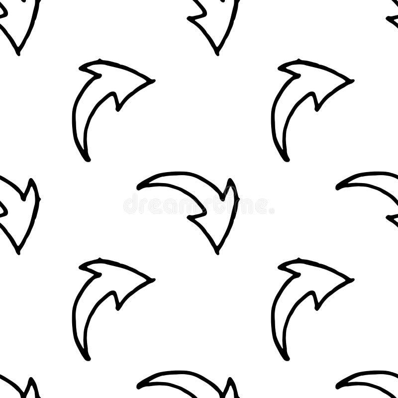 Значок стрелки doodle безшовной картины Handdrawn Эскиз стрелки руки вычерченный черный Символ знака r o иллюстрация штока