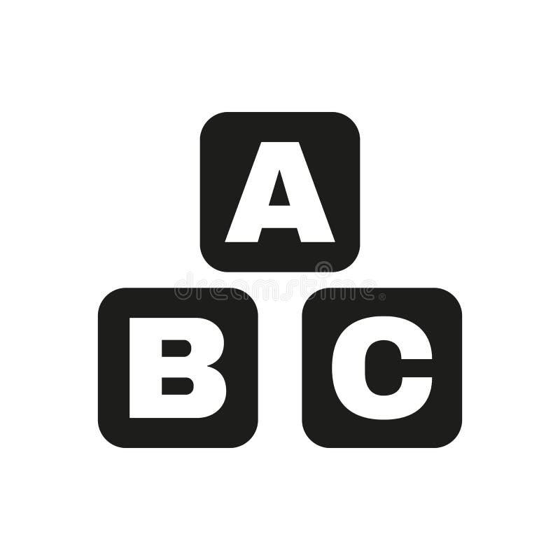 Значок строительных блоков ABC Дизайн вектора кирпичей ABC Символ кирпичей младенца Веб график jpg ai _ логос предмет плоско иллюстрация штока