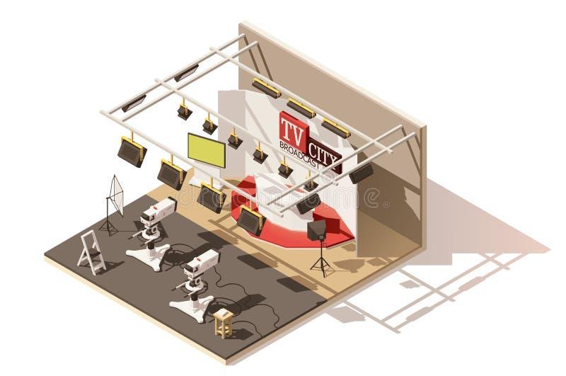 Значок студии телевидения вектора равновеликий низкий поли иллюстрация вектора