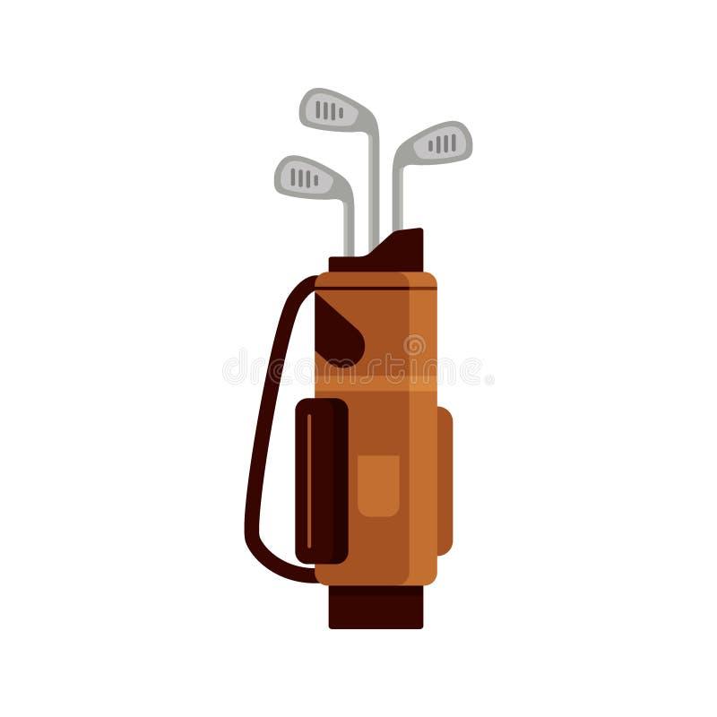 Значок сумки гольфа изолированный на белой предпосылке, плоском элементе для играть в гольф, оборудовании гольфа - vector иллюстр иллюстрация штока